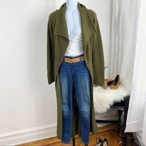 Anthropologie Moth Olive Wool Open Front Duster
